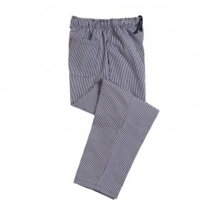 Blue and White Ghingham Polycotton Chefs Trouser
