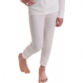 Kids White Thermal Long Johns