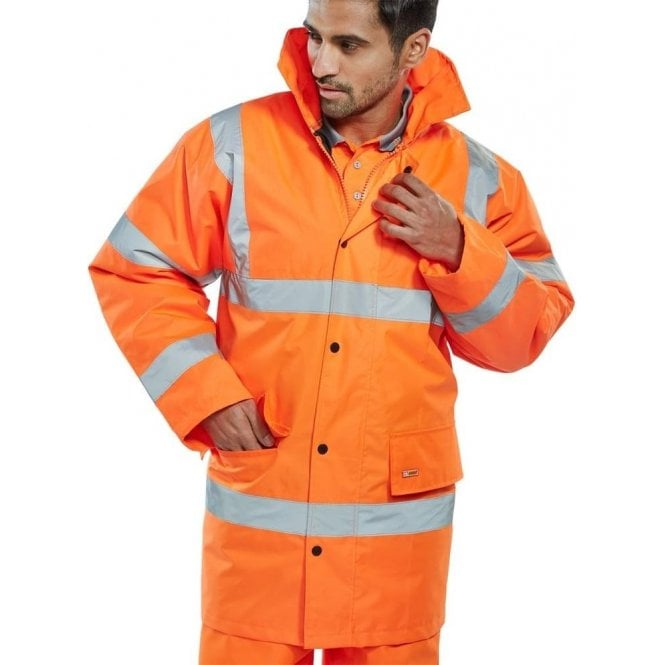 B-Seen Orange Hi-Vis High Visibility Jacket