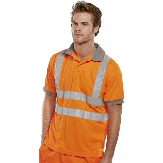 B-Seen Orange Hi-Vis High Visibility Polo Shirt