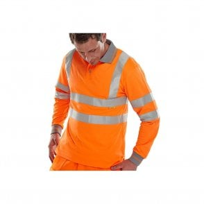 Orange Hi Visibility Long Sleeved Polo Shirt