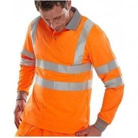 Orange Hi Visibility Long Sleeved Polo Shirt