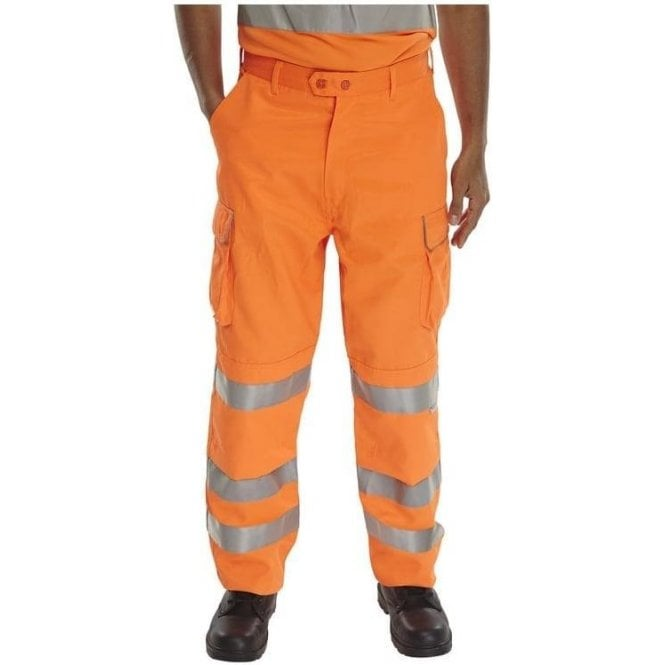 B-Seen Orange Rail Spec Hi-Viz High Visibility Trousers