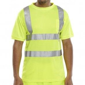 Yellow Hi-Vis High Visibility Crew Neck T-Shirt