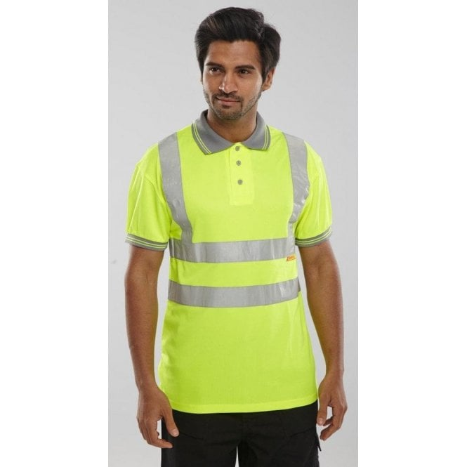 B-Seen Yellow Hi-Vis High Visibility Polo Shirt