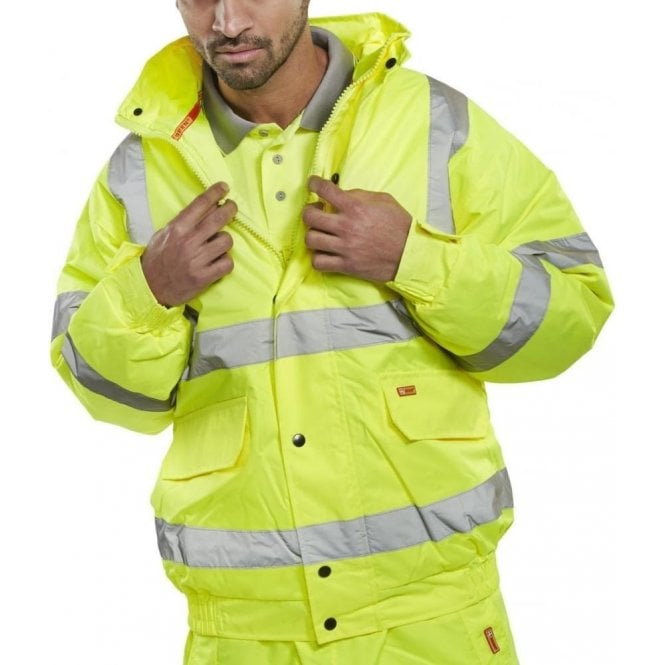B-Seen Yellow Hi Visibility Bomber Jacket