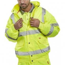 Yellow Hi Visibility Bomber Jacket