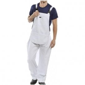 Cotton Drill Painter's Bib & Brace White