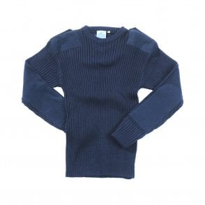 Navy Blue Crew Neck Military Style Jersey