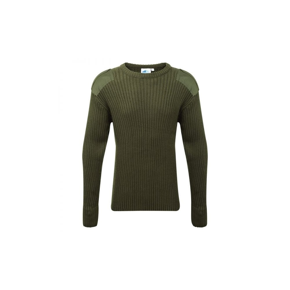 Castle Olive Green Crew Neck Military Style Jersey