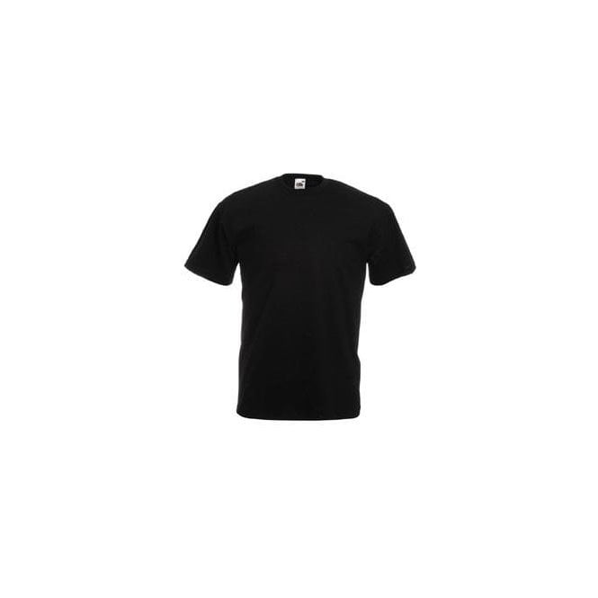 Fruit of the Loom Black Mens Valueweight Crew Neck, Short Sleeve T-Shirt
