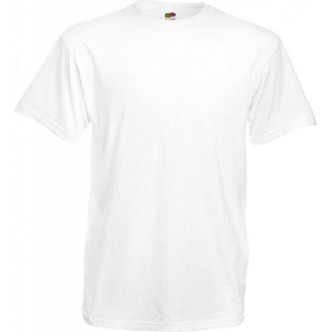 Fruit of the Loom Mens White Valueweight Crew Neck, Short Sleeve T-Shirt