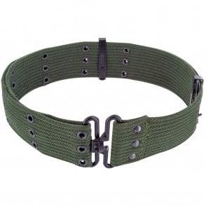 GI Style Cotton Pistol Belt Olive Green