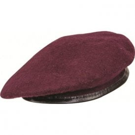Maroon Leather Bound Beret