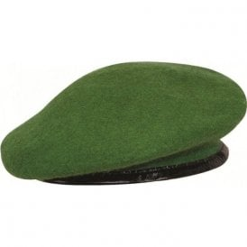 Olive Green Leather Bound Beret