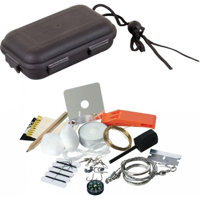 Kombat Survival Kit with Waterproof Plastic Case