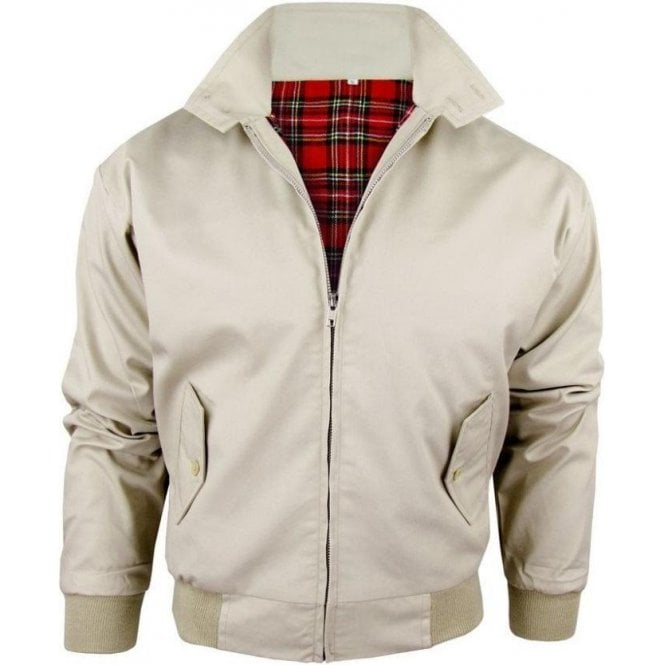Relco Beige Harrington Jacket With Red Tartan Lining