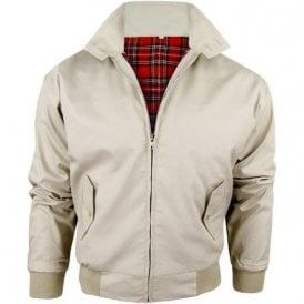 Beige Harrington Jacket With Red Tartan Lining
