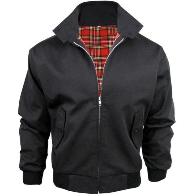 Relco Black Harrington Jacket With Red Tartan Lining
