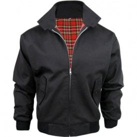 Black Harrington Jacket With Red Tartan Lining