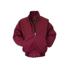 Burgundy Harrington Jacket With Red Tartan Lining