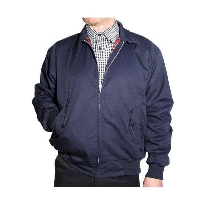 Relco Navy Harrington Jacket With Red Tartan Lining