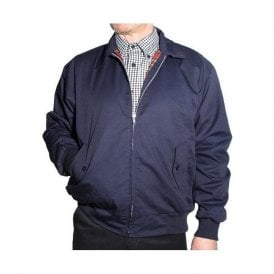 Navy Harrington Jacket With Red Tartan Lining