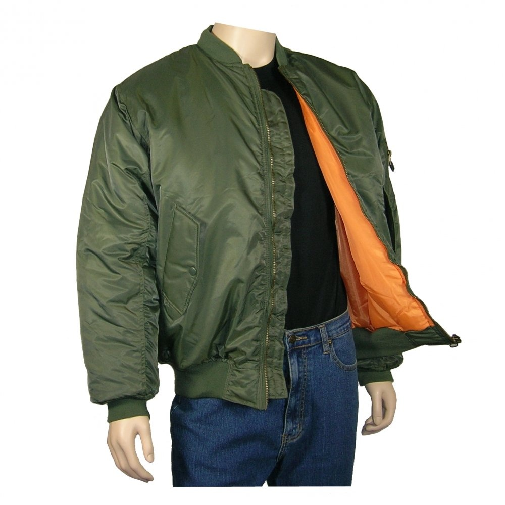 Olive Green Classic Flight MA1 Bomber Jacket 2cbb42298ea