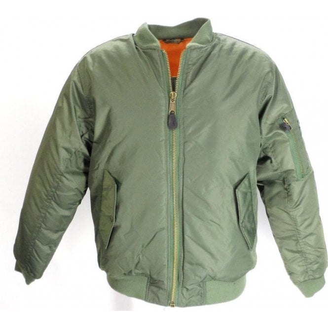 Relco Olive Green Classic Flight MA1 Bomber Jacket