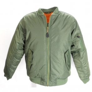 Olive Green Classic Flight MA1 Bomber Jacket