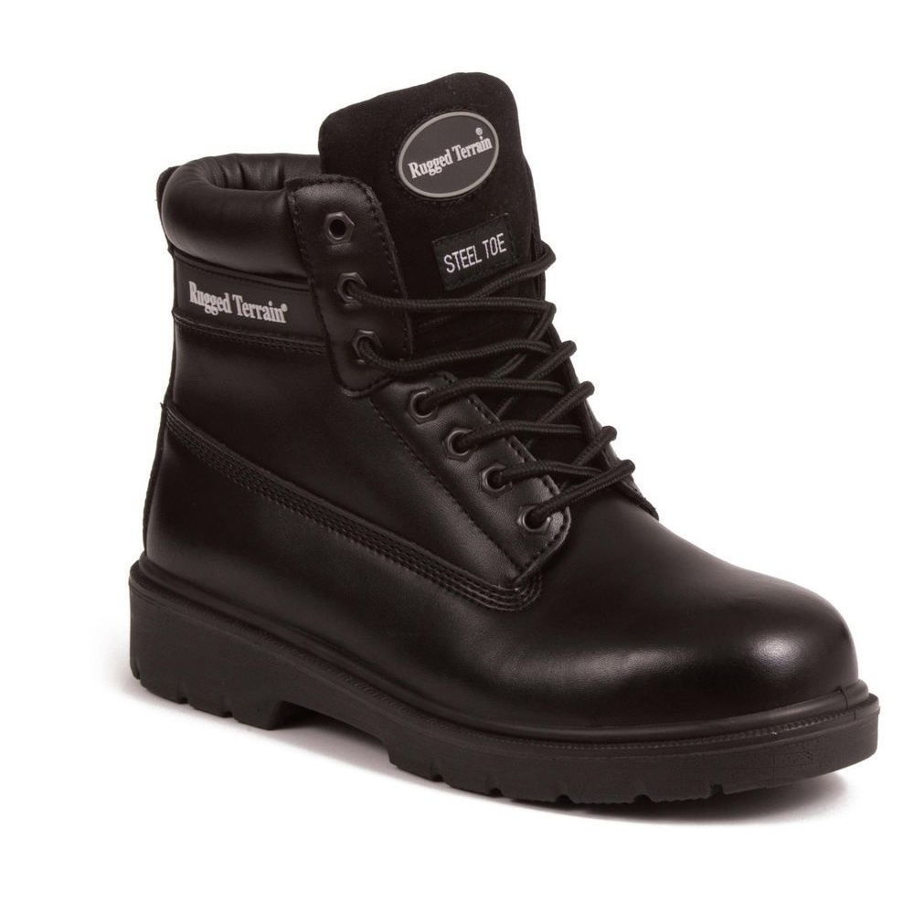 3be3cf5bfb3 Black Leather Derby Steel Toe Cap Boot