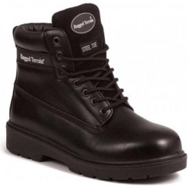 Black Leather Derby Steel Toe Cap Boot