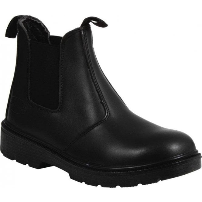 Rugged Terrain Black Steel Cap Chelsea Boot