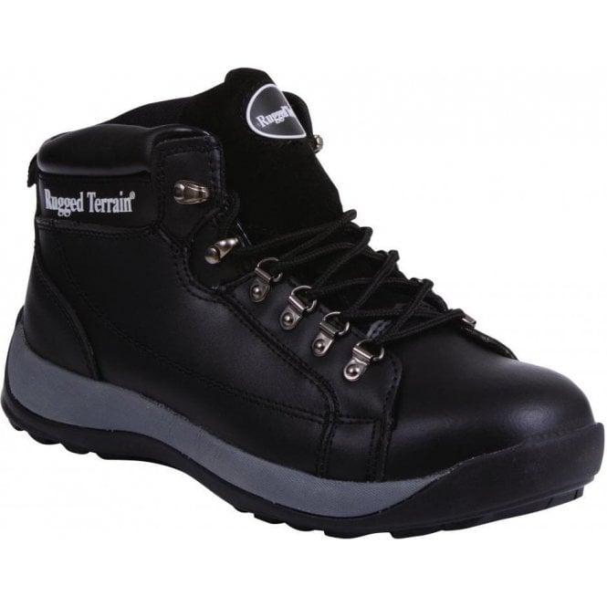Rugged Terrain Black Steel Cap Trainer Boot