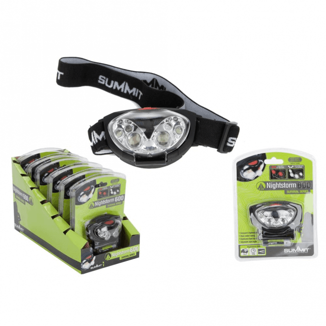Summit 4 + 2 LED Nightstorm 600 Headlight with Batteries